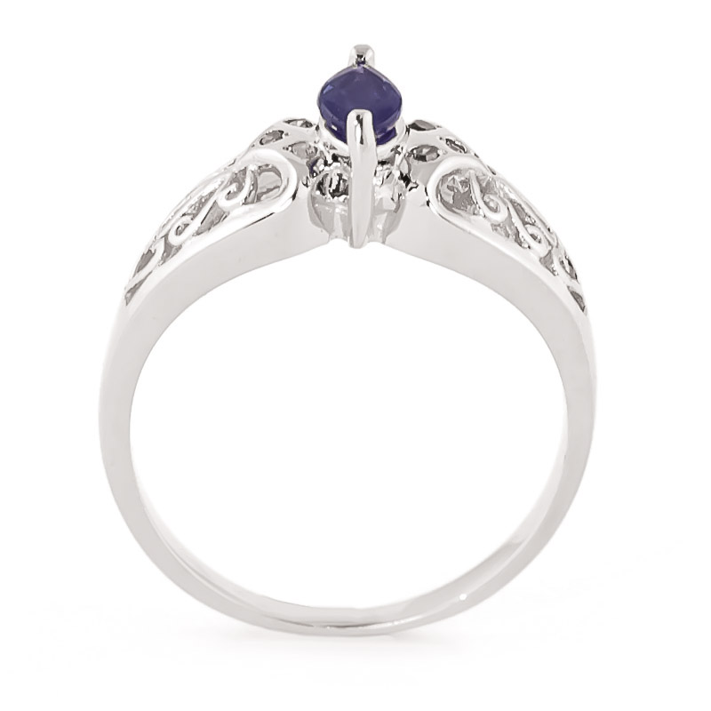 Marquise Cut Sapphire Filigree Ring 0.2ct in 9ct White Gold