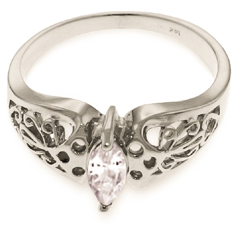 Marquise Cut White Topaz Filigree Ring 0.2ct in 9ct White Gold