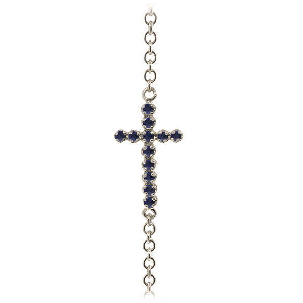 Sapphire Adjustable Cross Bracelet 0.3ct in 9ct White Gold
