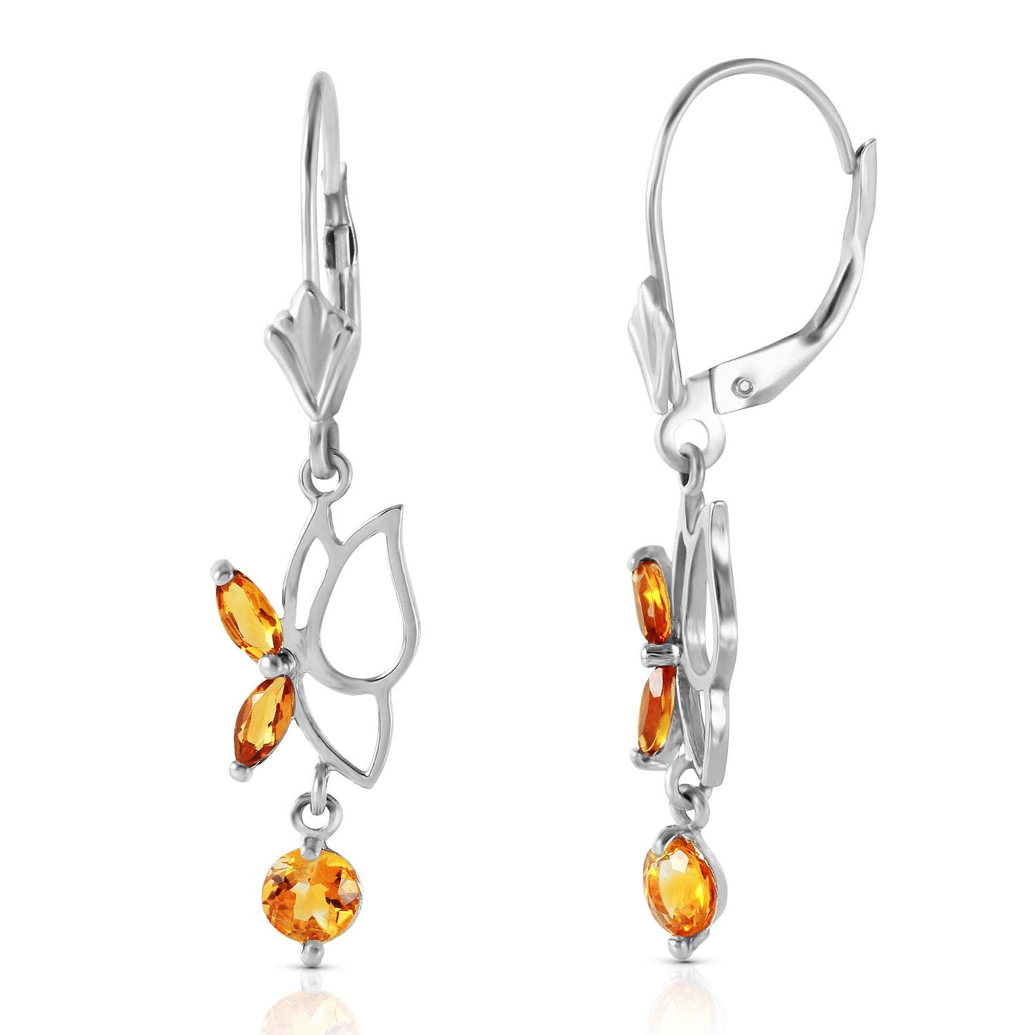 Citrine Butterfly Drop Earrings 0.35ctw in 9ct White Gold