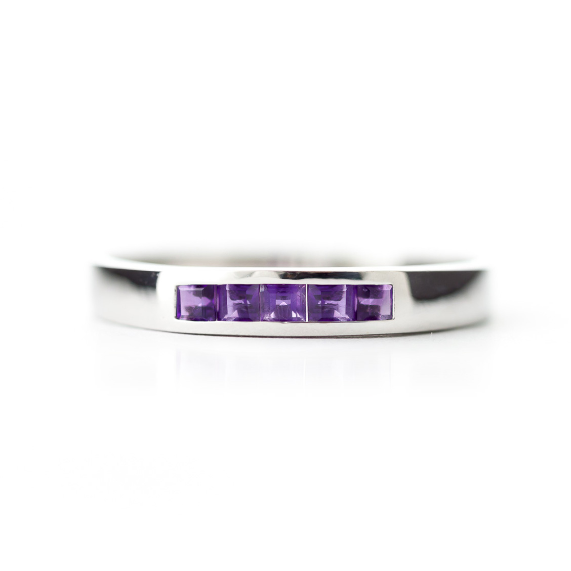 Princess Cut Amethyst Ring 0.6ctw in 9ct White Gold