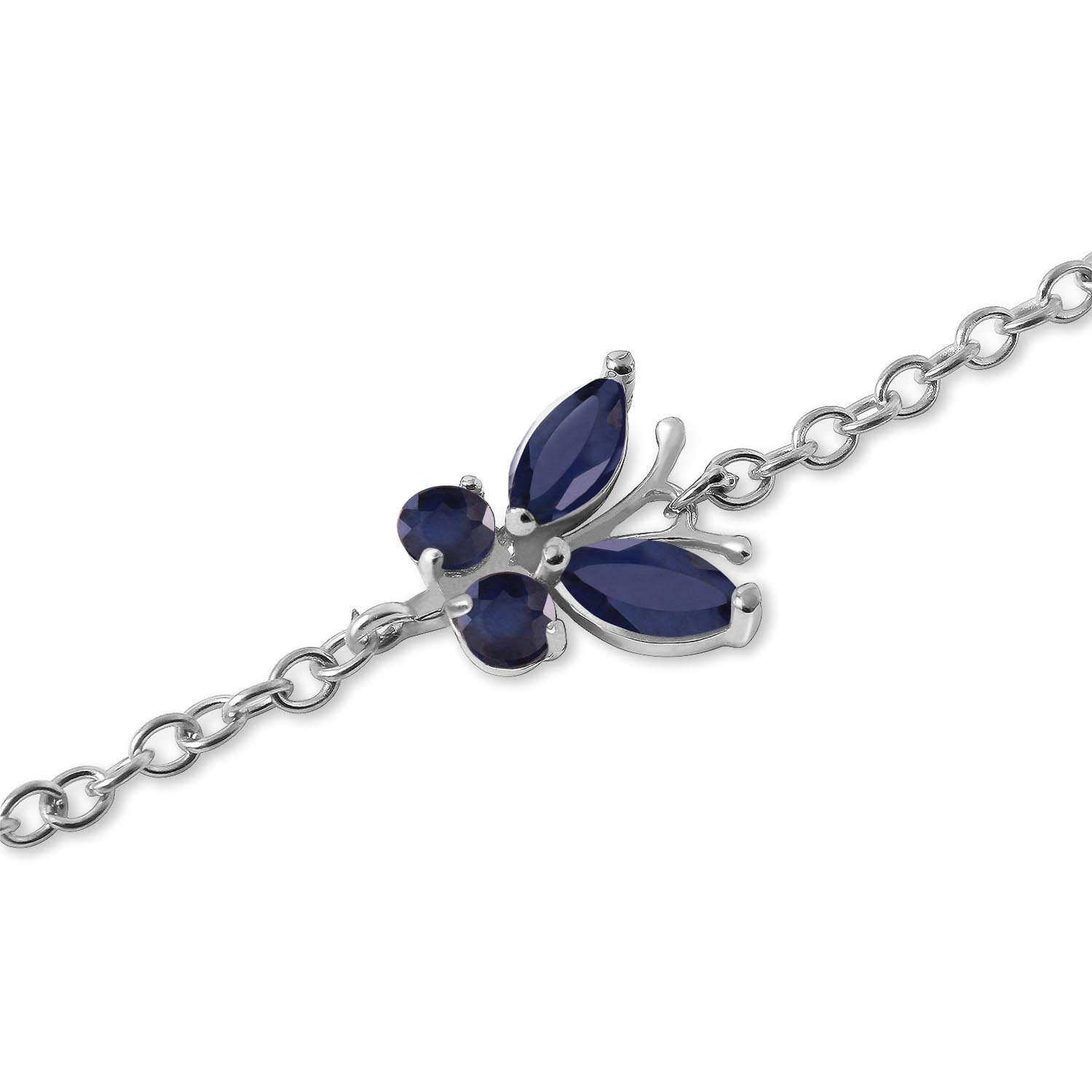 Sapphire Adjustable Butterfly Bracelet 0.6ctw in 9ct White Gold