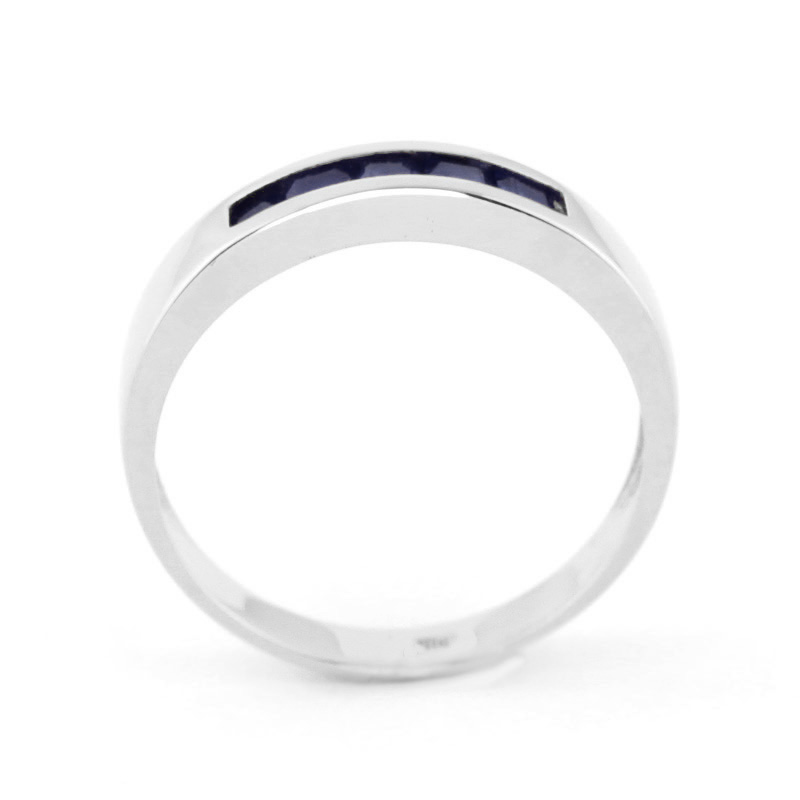 Princess Cut Sapphire Ring 0.6ctw in 9ct White Gold