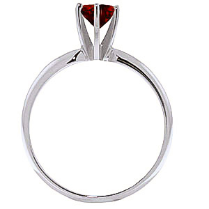 Garnet Crown Solitaire Ring 0.65ct in 9ct White Gold