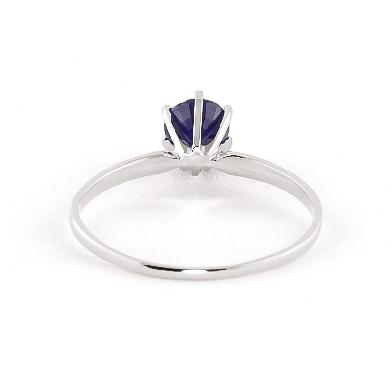 Sapphire Crown Solitaire Ring 0.65ct in 9ct White Gold