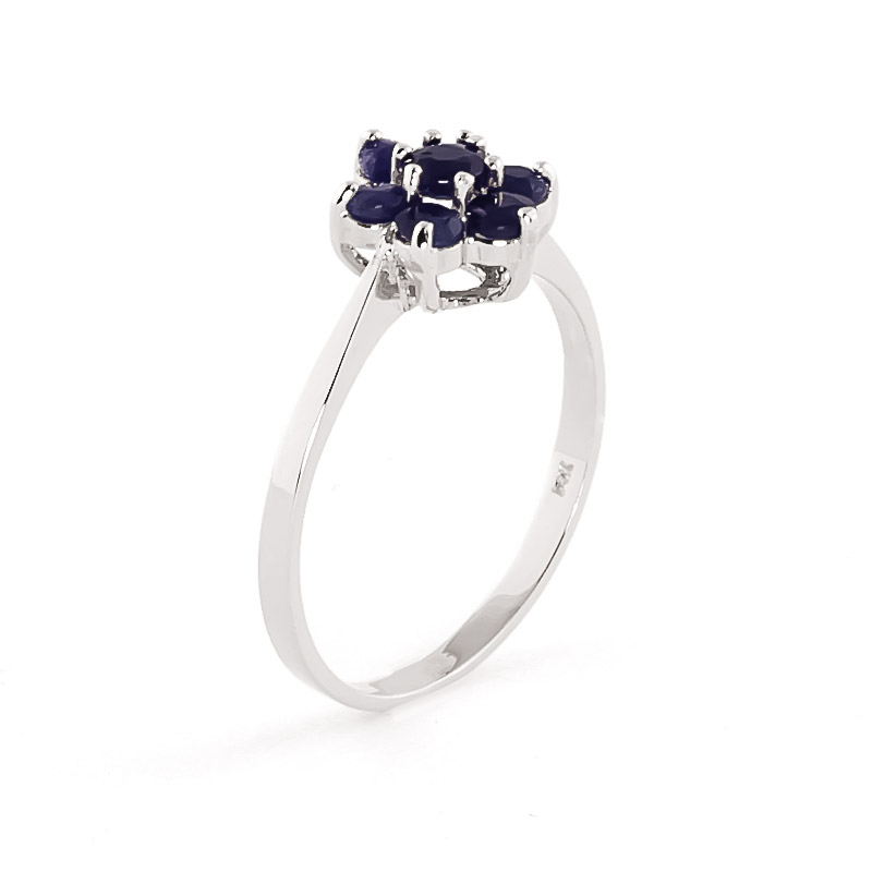 Sapphire Wildflower Cluster Ring 0.66ctw in 9ct White Gold