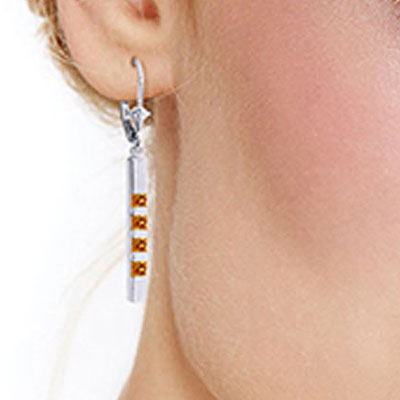 Citrine Bar Drop Earrings 0.7ctw in 9ct White Gold
