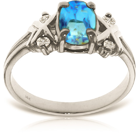 Blue Topaz and Diamond Ring 0.85ct in 9ct White Gold