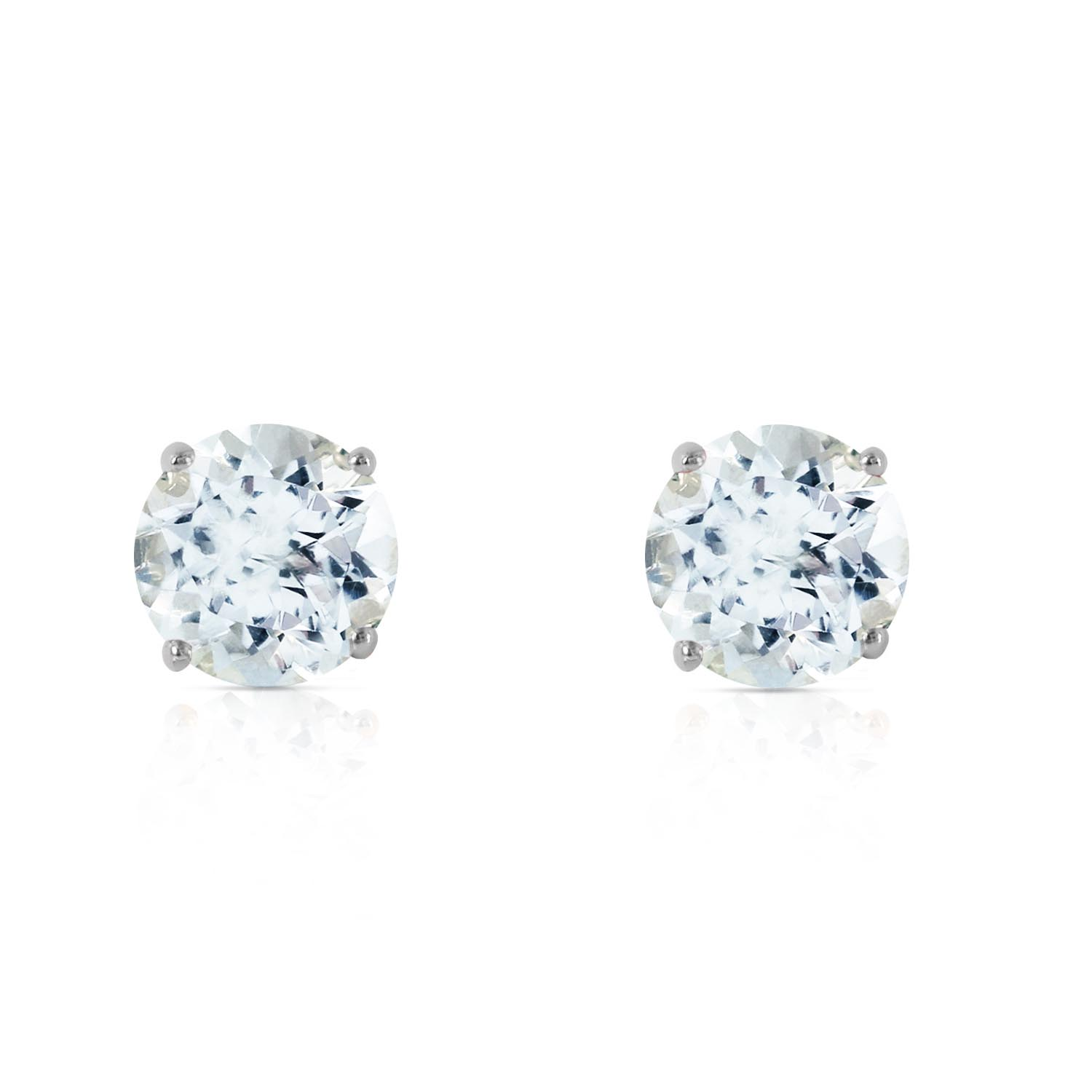 Aquamarine Stud Earrings 0.95ctw in 9ct White Gold