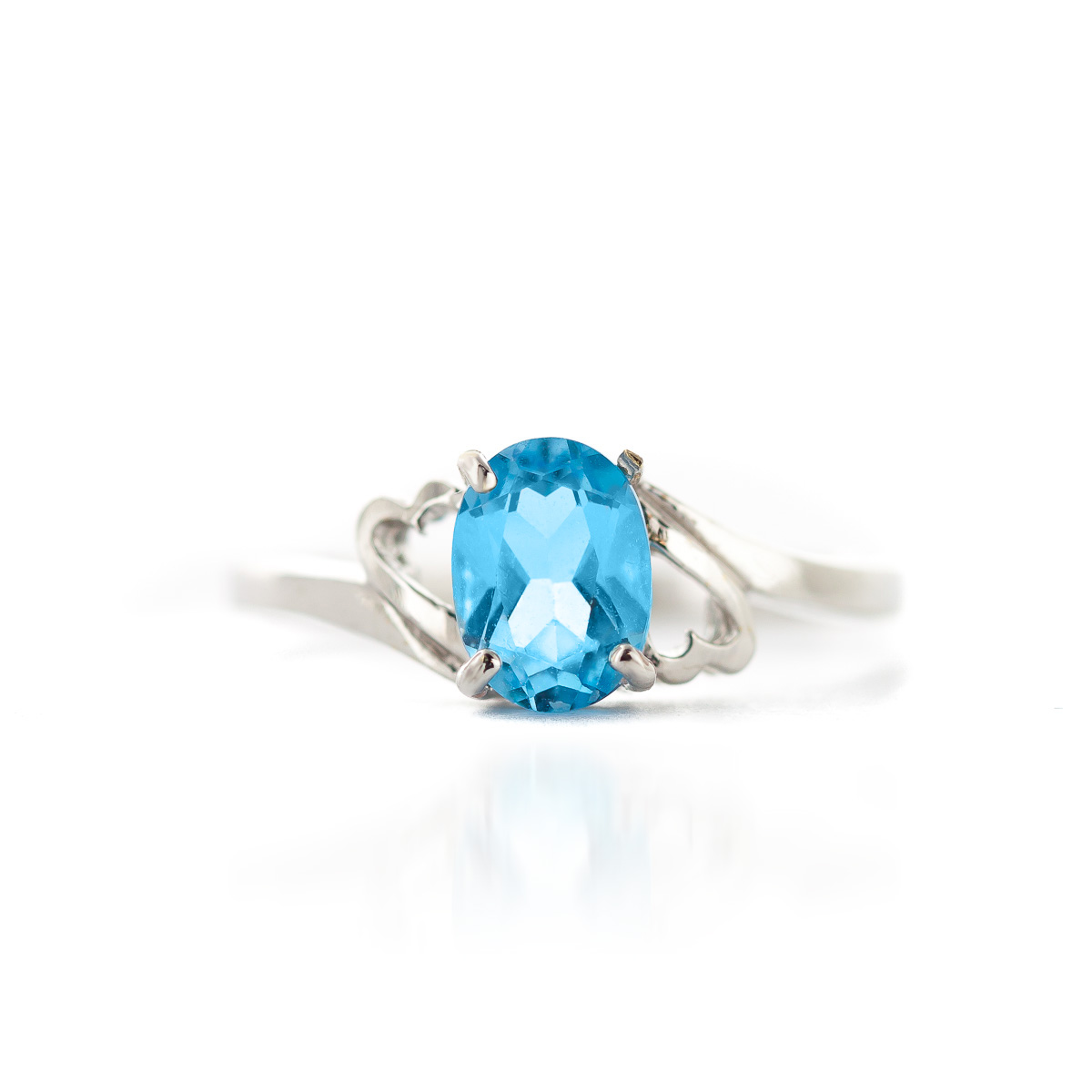 Blue Topaz Classic Desire Ring 0.95ct in 9ct White Gold