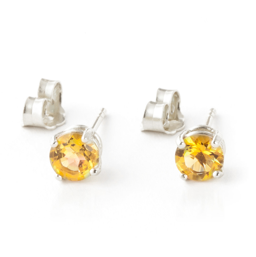 Citrine Stud Earrings 0.95ctw in 9ct White Gold