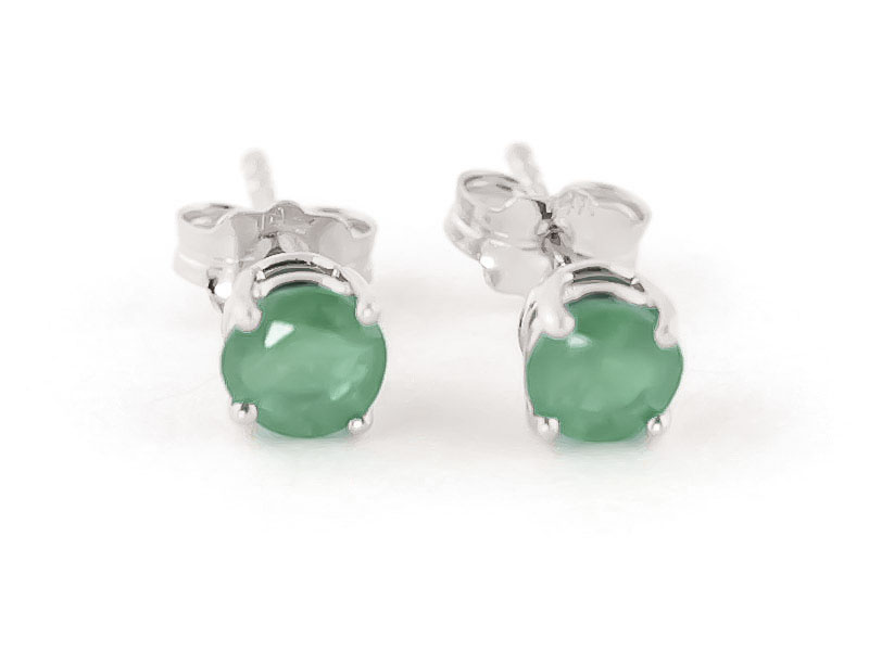 Emerald Stud Earrings 0.95ctw in 9ct White Gold