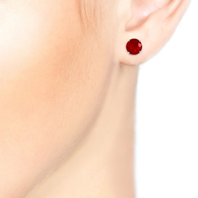 Ruby Stud Earrings 0.95ctw in 9ct White Gold