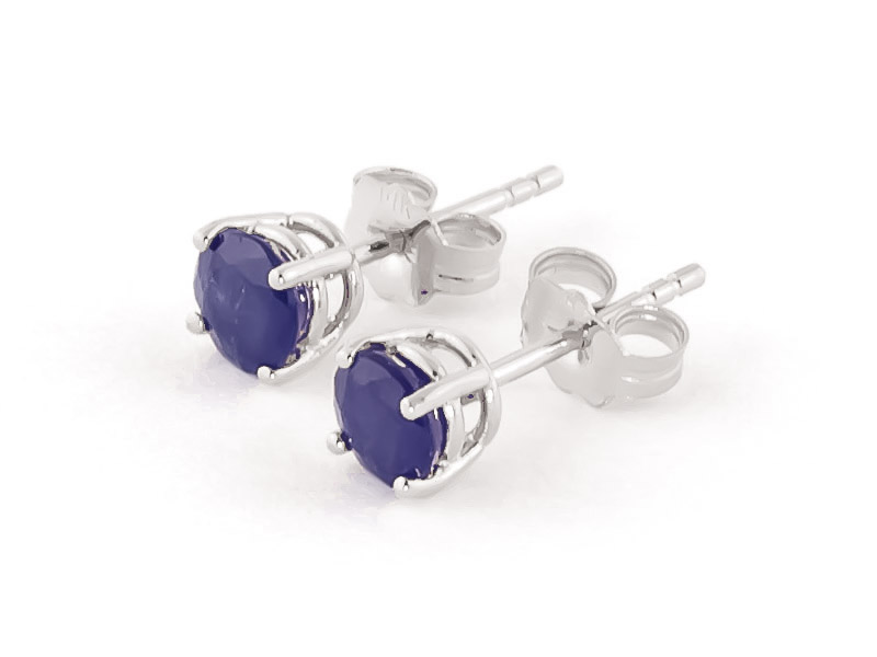 Sapphire Stud Earrings 0.95ctw in 9ct White Gold