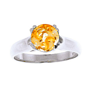 Round Brilliant Cut Citrine Solitaire Ring 1.1ct in 9ct White Gold