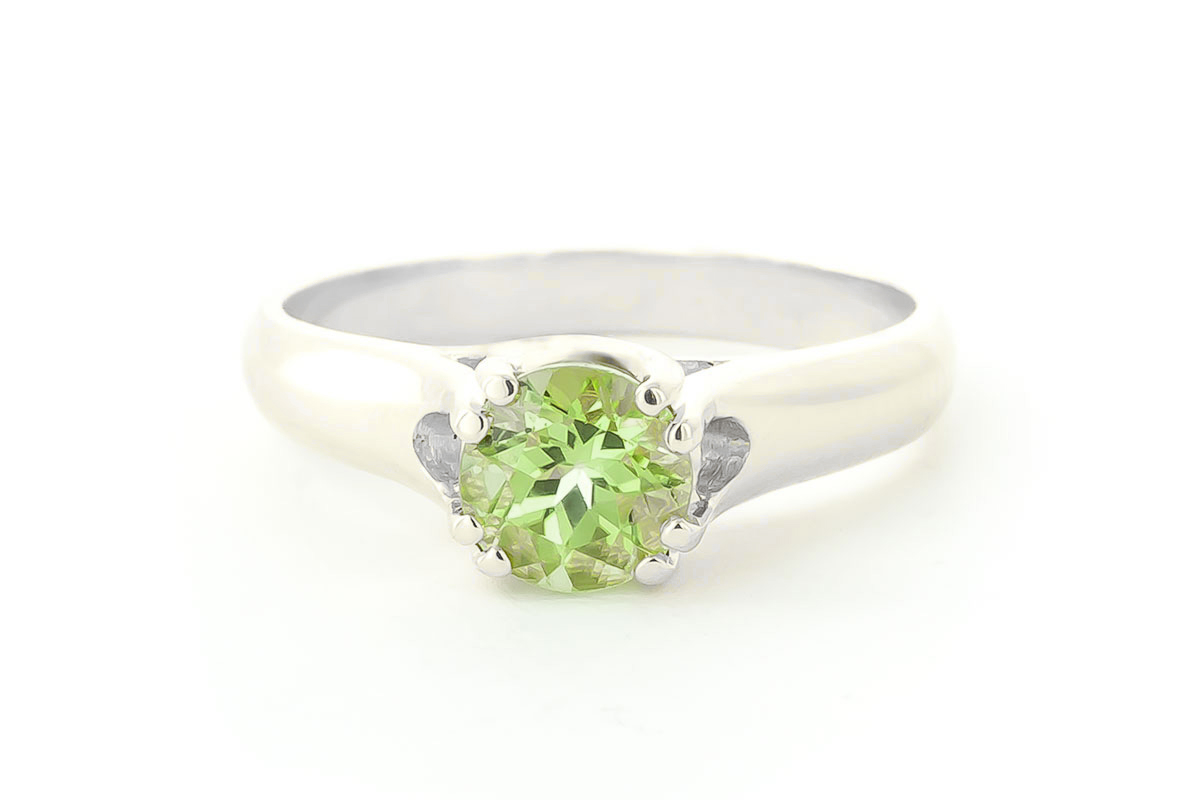 Round Brilliant Cut Peridot Solitaire Ring 1.1ct in 9ct White Gold