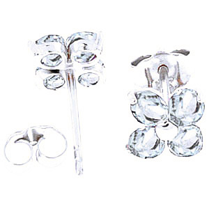 Aquamarine Clover Stud Earrings 1.15ctw in 9ct White Gold