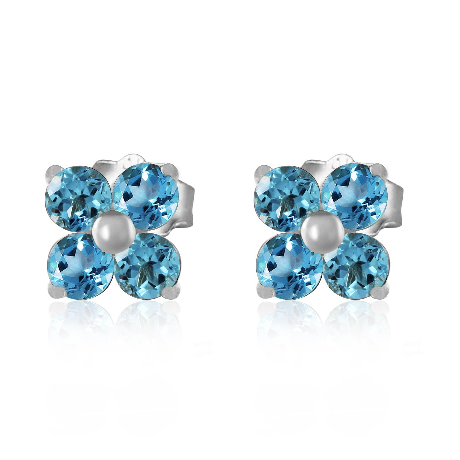 Blue Topaz Clover Stud Earrings 1.15ctw in 9ct White Gold