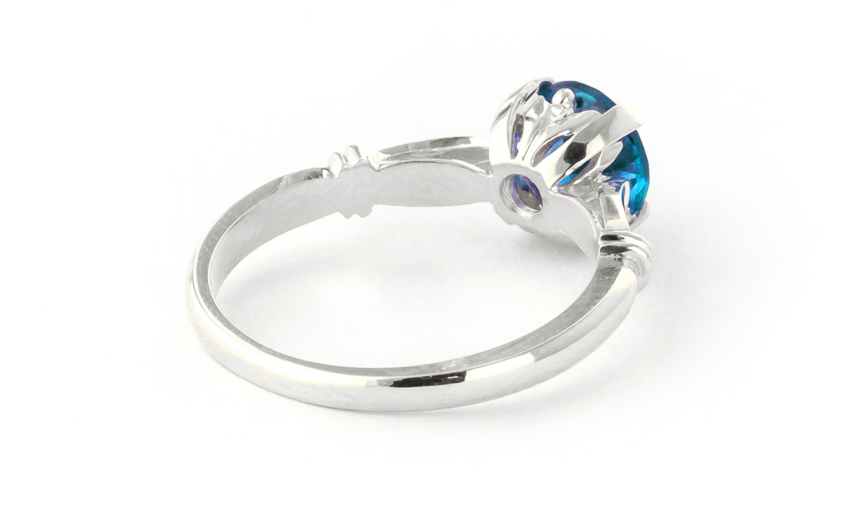 Round Brilliant Cut Blue Topaz Solitaire Ring 1.15ct in 9ct White Gold