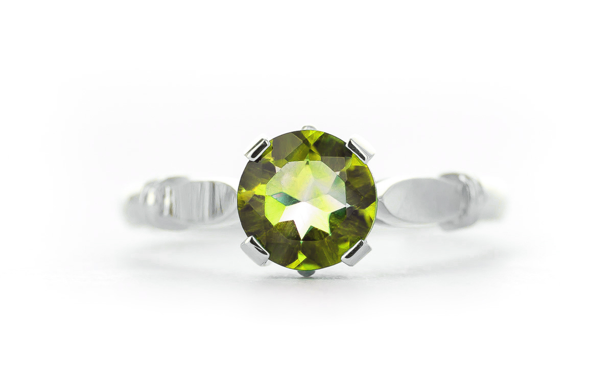 Round Brilliant Cut Peridot Solitaire Ring 1.15ct in 9ct White Gold