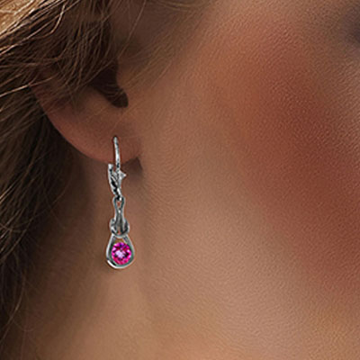 Pink Topaz San Francisco Drop Earrings 1.3ctw in 9ct White Gold