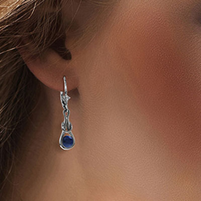 Sapphire San Francisco Drop Earrings 1.3ctw in 9ct White Gold