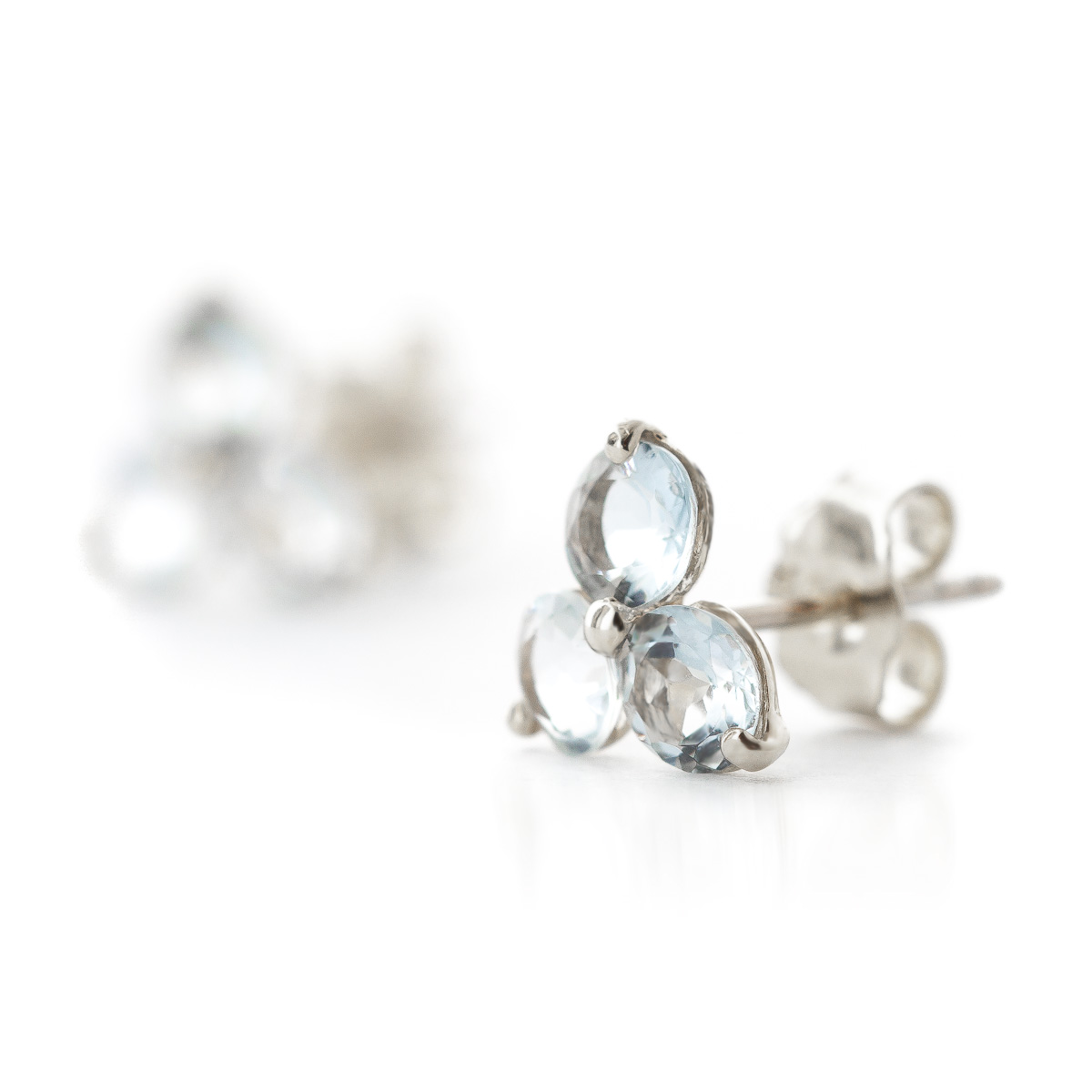 Aquamarine Trinity Stud Earrings 1.5ctw in 9ct White Gold