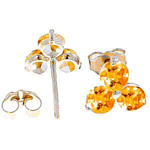 Citrine Trinity Stud Earrings 1.5ctw in 9ct White Gold