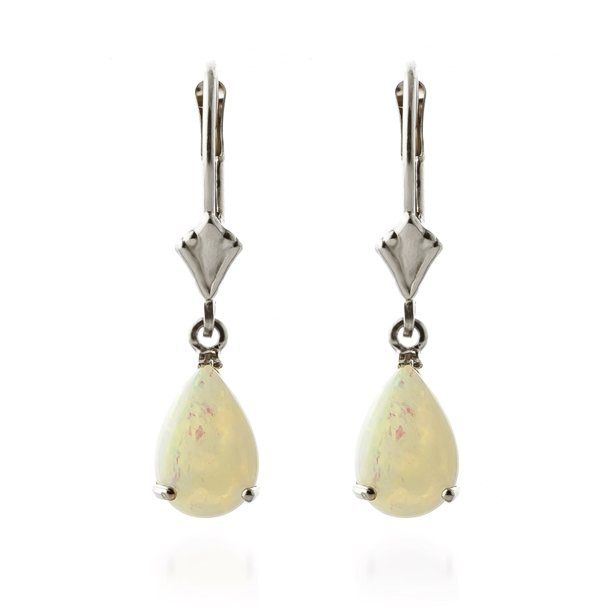 Opal Belle Drop Earrings 1.55ctw in 9ct White Gold