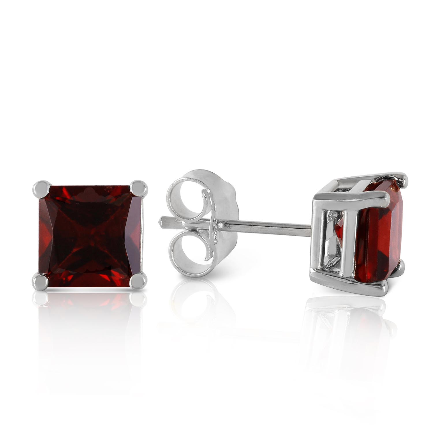 Garnet Stud Earrings 1.75ctw in 9ct White Gold
