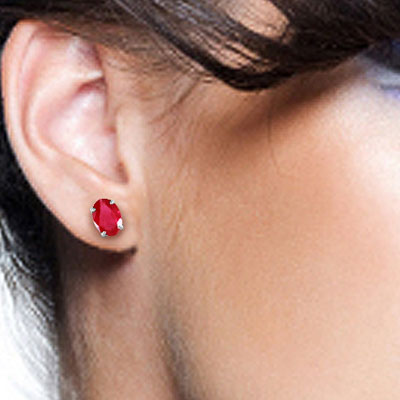 Ruby Stud Earrings 1.8ctw in 9ct White Gold