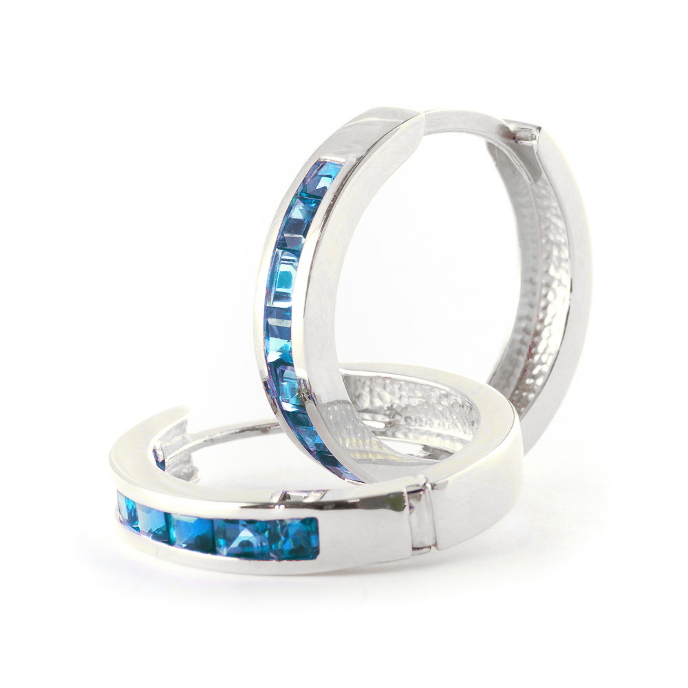 Blue Topaz Huggie Earrings 1.85ct in 9ct White Gold