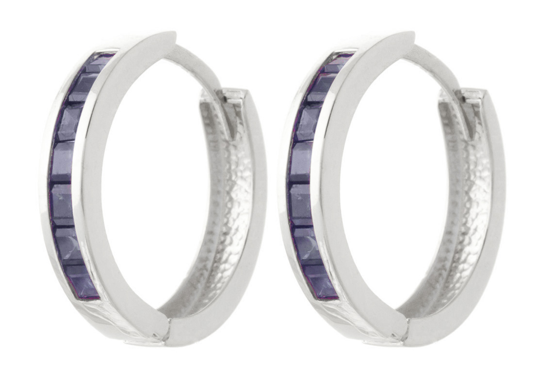 Sapphire Huggie Earrings 1.85ct in 9ct White Gold
