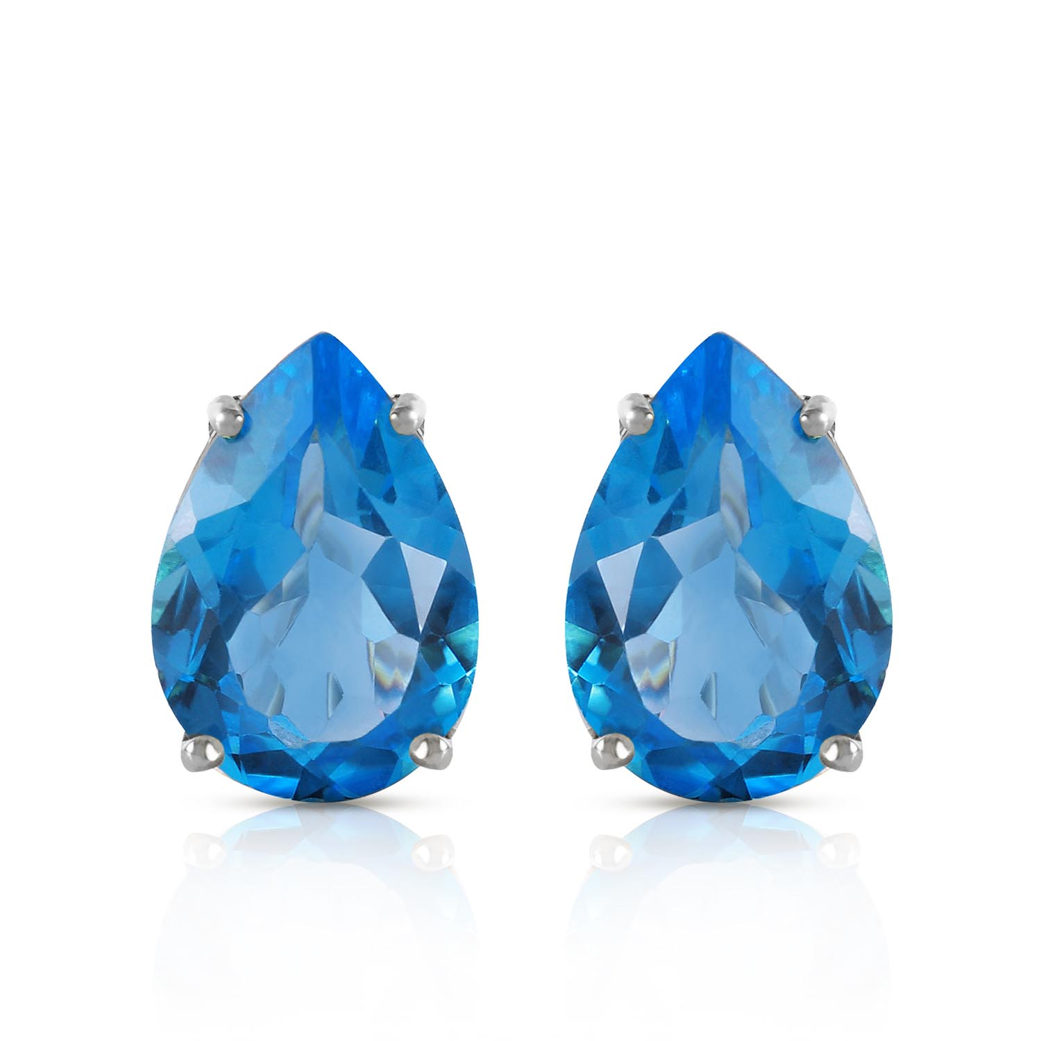 Blue Topaz Droplet Stud Earrings 10.0ctw in 9ct White Gold