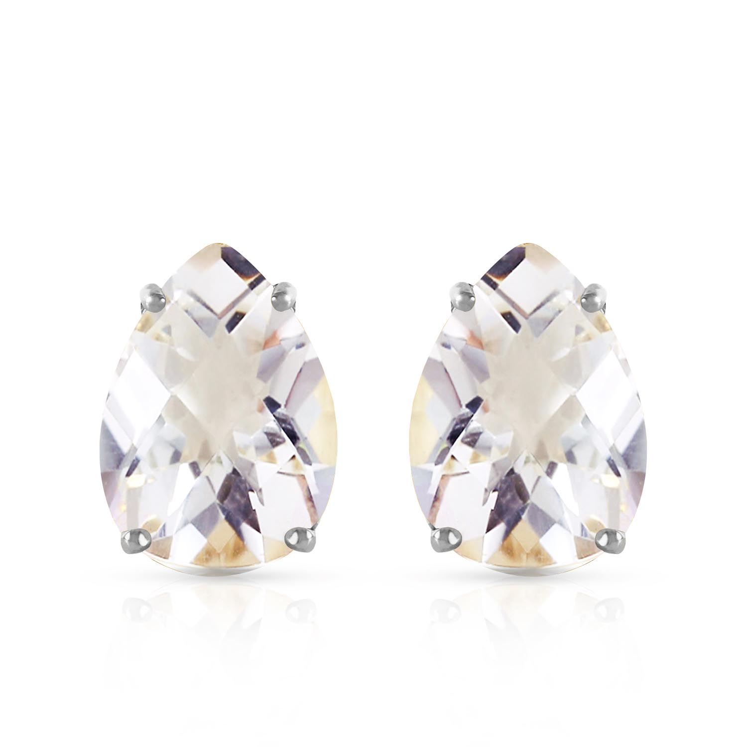White Topaz Droplet Stud Earrings 10.0ctw in 9ct White Gold