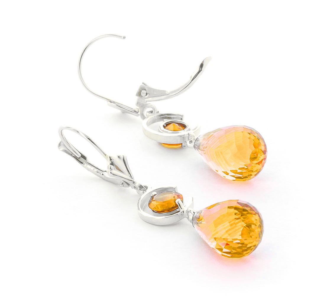 Citrine Briolette Drop Earrings 11.0ctw in 9ct White Gold