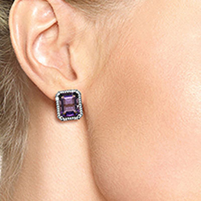 Amethyst and Diamond French Clip Halo Earrings 11.2ctw in 9ct White Gold