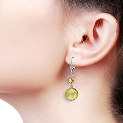 Citrine Drop Earrings 11.6ctw in 9ct White Gold