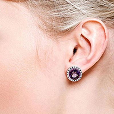 Amethyst and Diamond Stud French Clip Halo Earrings 12.0ctw in 9ct White Gold