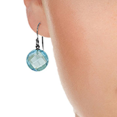 Blue Topaz Chequer Cut Drop Earrings 12.0ctw in 9ct White Gold