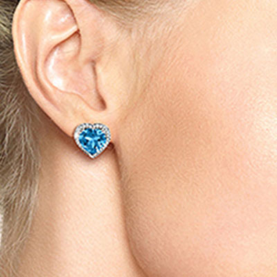 Blue Topaz and Diamond French Clip Halo Earrings 12.6ctw in 9ct White Gold