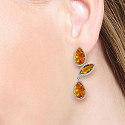 Citrine Petal Drop Earrings 13.0ctw in 9ct White Gold