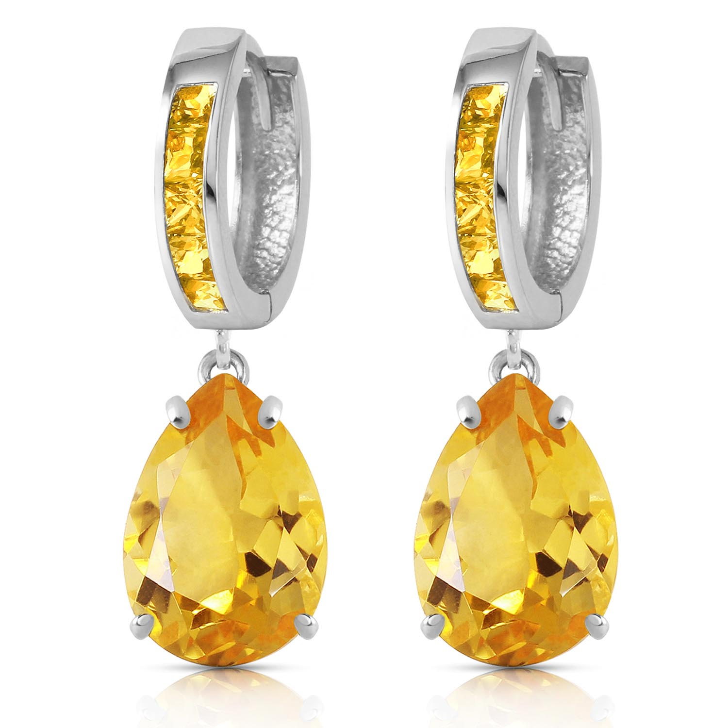 Citrine Droplet Huggie Earrings 13.2ctw in 9ct White Gold