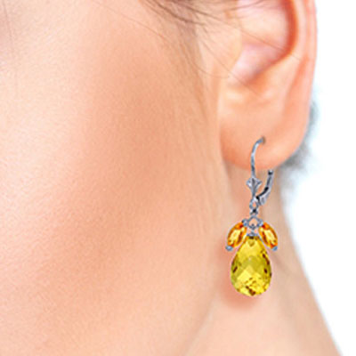 Citrine Drop Earrings 14.4ctw in 9ct White Gold
