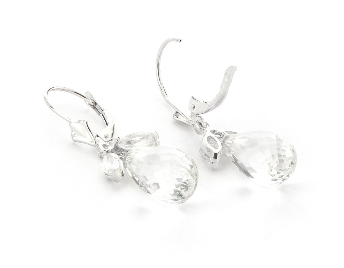White Topaz Drop Earrings 14.4ctw in 9ct White Gold