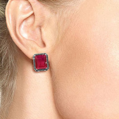 Ruby and Diamond Stud French Clip Halo Earrings 14.5ctw in 9ct White Gold