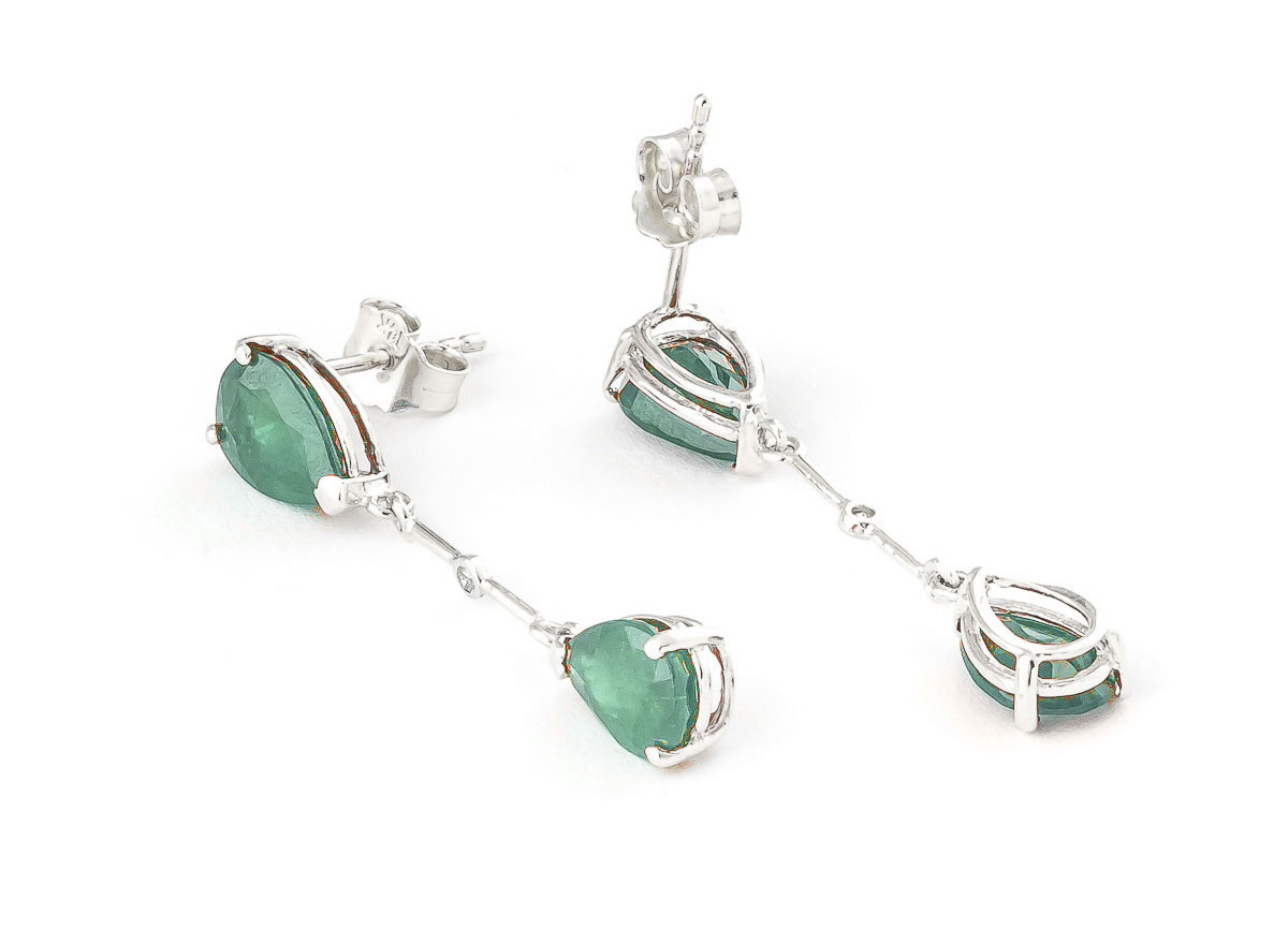 Emerald and Diamond Drop Earrings 15.0ctw in 9ct White Gold