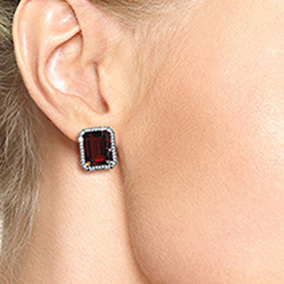 Garnet and Diamond French Clip Halo Earrings 15.0ctw in 9ct White Gold