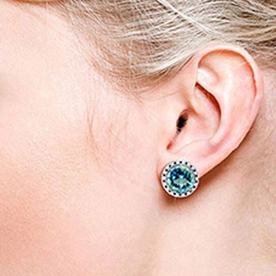 Blue Topaz and Diamond Stud French Clip Halo Earrings 15.6ctw in 9ct White Gold