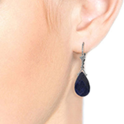 Sapphire Droplet Briolette Earrings 15.6ctw in 9ct White Gold